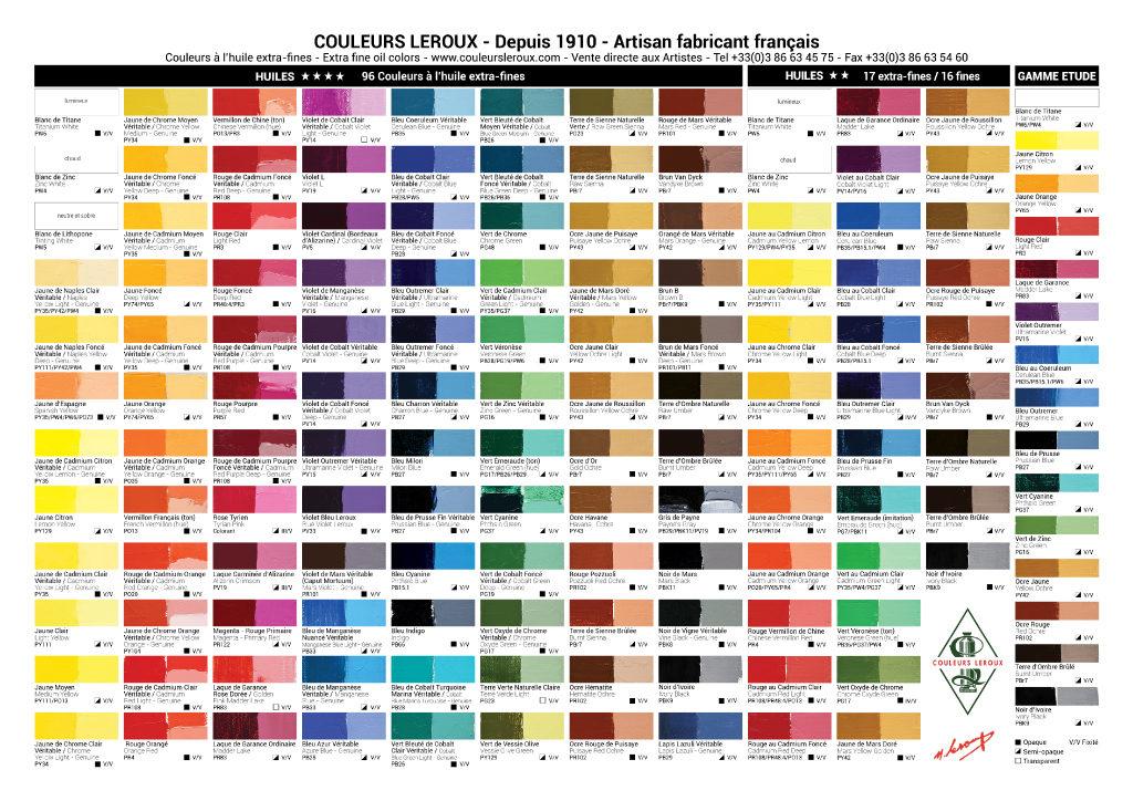 nuancier Leroux couleurs huile