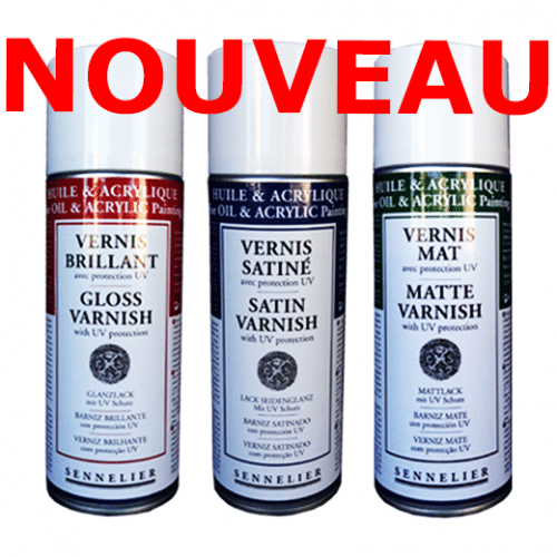 3 vernis huile acrylique anti-UV Sennelier en bombe