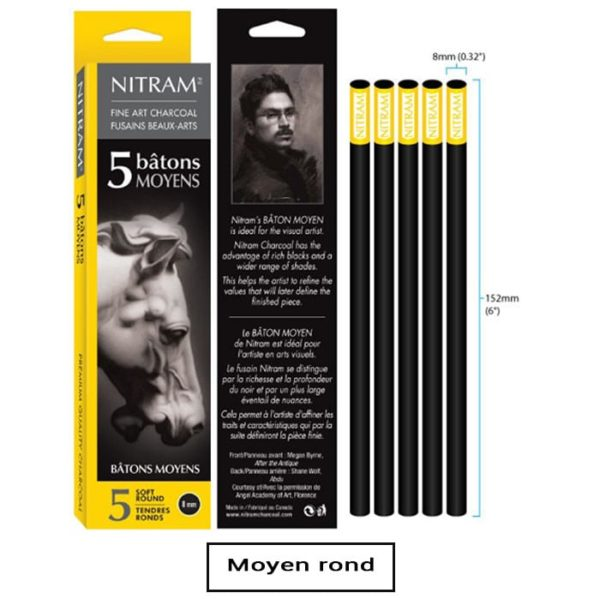 Boîte de 5 bâtons de fusain-moyen rond