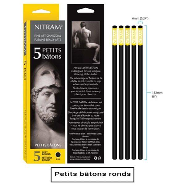 Boîte de 5 bâtons de fusain-petit bâton rond